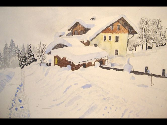 Schnee, Winter, Aquarell