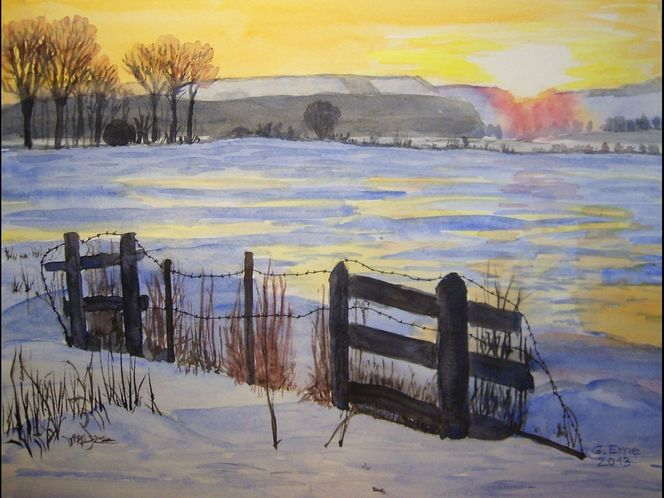 Natur, Winter, Sonnenaufgang, Aquarell