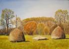 Sommer, Ölmalerei, Feld, Landschaft