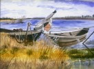 Wasser, Aquarellmalerei, Boot, Malerei