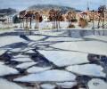 Oderberg, Eis, Aquarellmalerei, Malerei