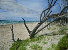 Sommer, Landschaft, Wasser, Aquarellmalerei