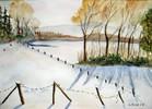 Schnee, Aquarellmalerei, Winter, Malerei