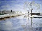 Winter, Landschaft, Aquarellmalerei, Malerei