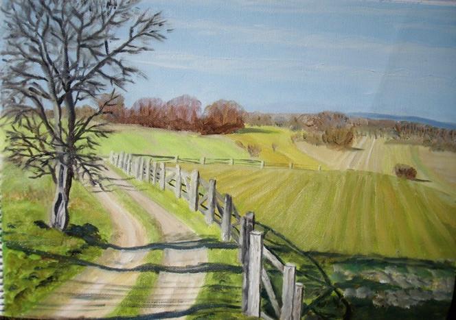 Malerei, Weg, Ölmalerei, Baum, Landschaft, Wanderweg