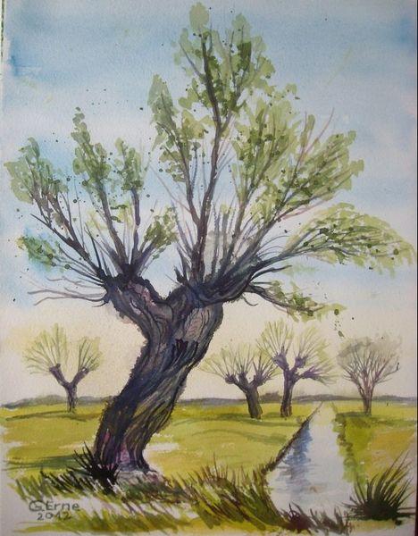 Natur, Weide, Frühling, Aquarell