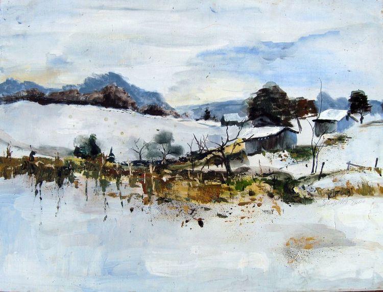 Acrylmalerei, Landschaft, Malerei, Winter, Dorf