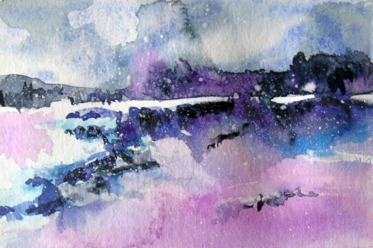 Aquarellmalerei, Skizze, Landschaft, Aquarell