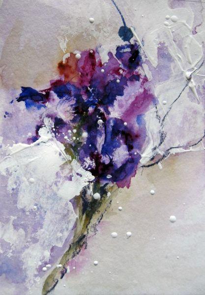 Aquarellmalerei, Blumen, Spachtel, Nass, Aquarell, Eiszeit