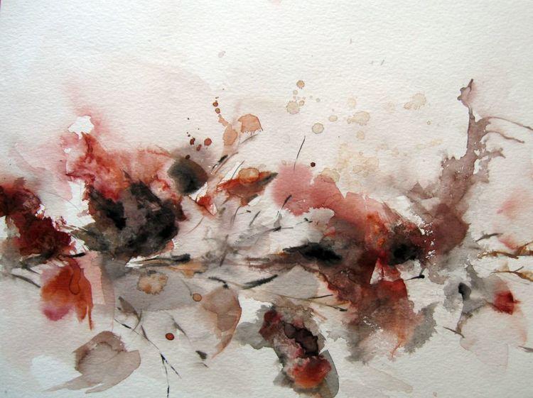 Nass, Aquarellmalerei, Abstrakt, Blumen, Aquarell