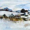 Malerei, Acrylmalerei, Landschaft, Dorf