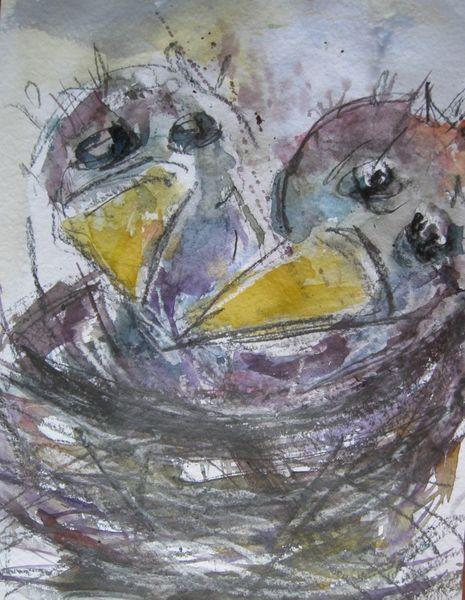 Nass, Aquarellmalerei, Skizze, Schicht, Aquarell, Nest