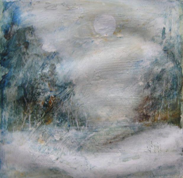 Acrylmalerei, Landschaft, Realismus, Malerei, Spaziergang, Schnee
