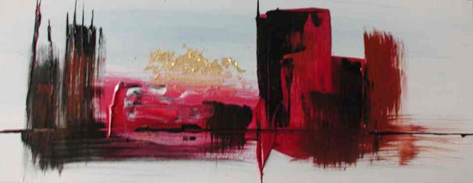 Malerei, Abstrakt, Stadt, Morgensonne