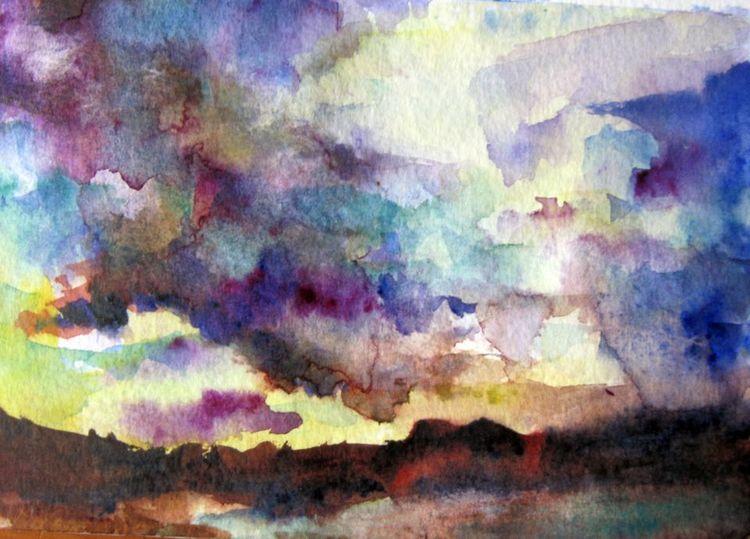 Aquarellmalerei, Landschaft, Abstrakt, Aquarell, Sturm