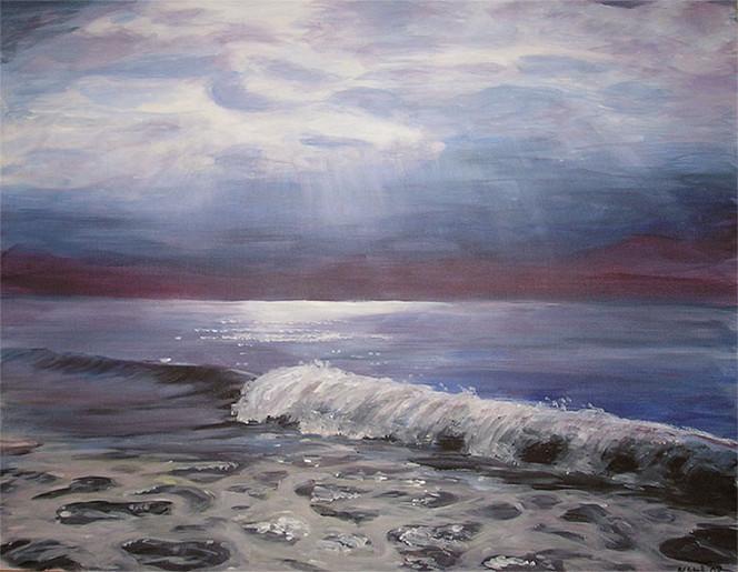 Meer, Landschaft, Abend, Malerei