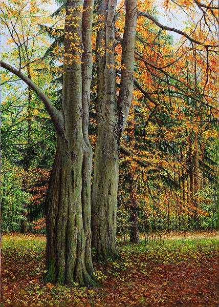 Landschaft, Tanne, Herbst, Gras, Natur, Ölfarben
