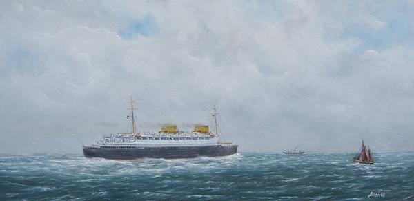 Dampfschiff, Maritim, Schiff, Ndl, Ölmalerei, Passagierschiffe