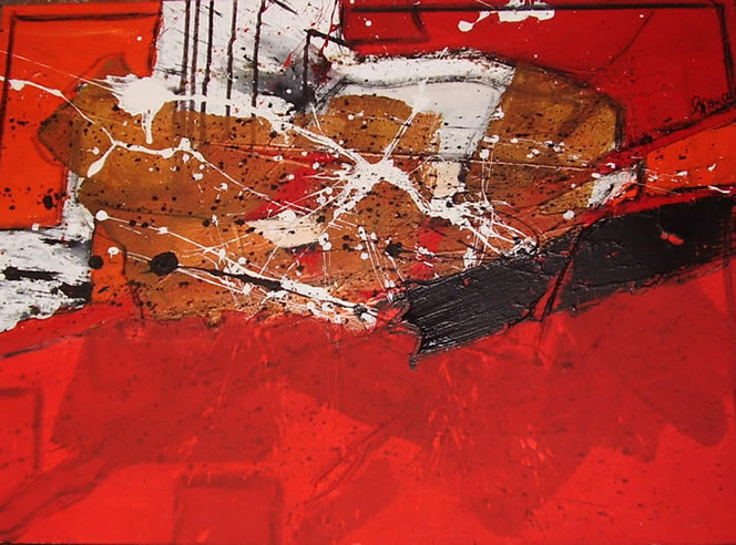 Malerei, Weiß, Rot schwarz, Chaos, Abstrakt