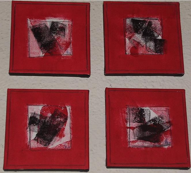 Malerei, Rot schwarz, Weiß, Abstrakt, Rot, Schwarz