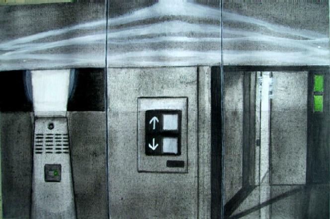 Skizze, Fahrstuhl, Malerei
