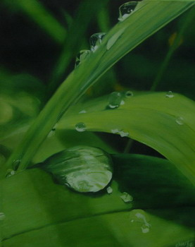 Blätter, Tropfen, Temperamalerei, Tau, Malerei, Figural