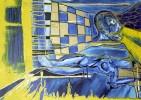 Malerei, Gelb, Blau, Abstrakt