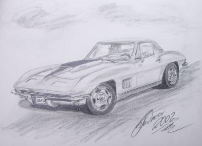 Corvette Auto Zeichnung Amerika Muskulatur Von Gerold Mario