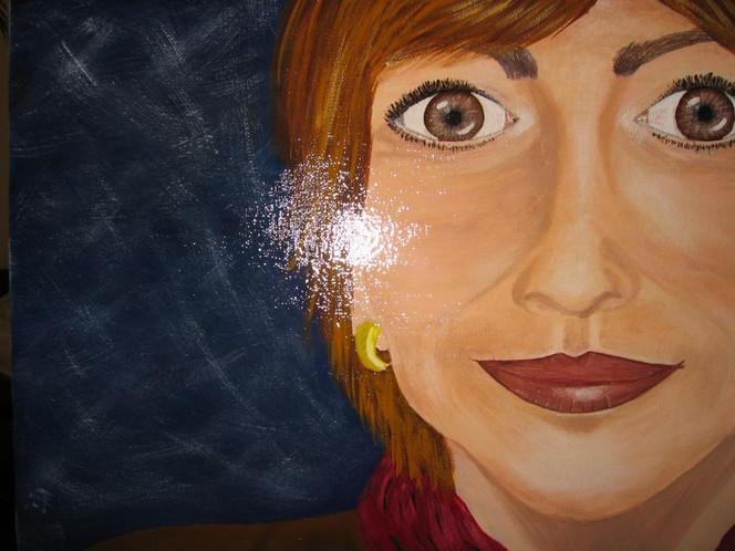 Portrait, Malerei, Frau, Gesicht, Acrylmalerei
