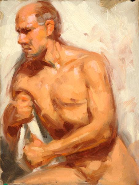 Akt, Figur, Studie, Ölmalerei, Malerei