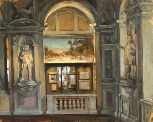 Interieur, Museum, Figural, Malerei, Ölmalerei, Bogen