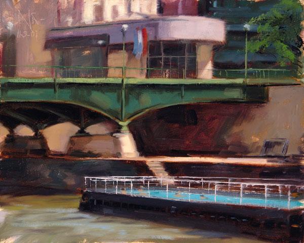 Luft, Ölmalerei, Stadtlandschaft, Studie, Malerei, Plein