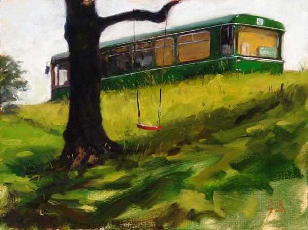 Luft, Stadtlandschaft, Studie, Ölmalerei, Malerei, Plein