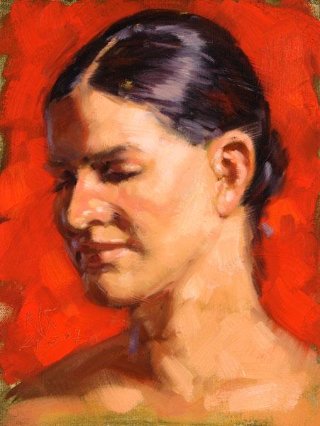 Portrait, Ölmalerei, Figur, Malerei, Rot
