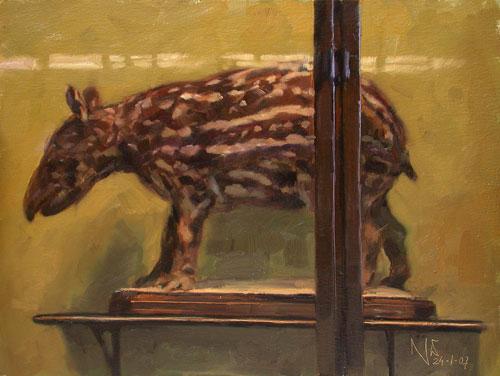 Museum, Malerei, Ölmalerei, Interieur, Figural, Tiermalerei