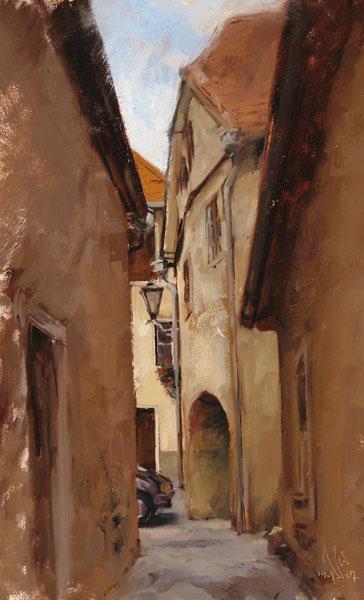 Luft, Stadtlandschaft, Studie, Malerei, Ölmalerei, Plein