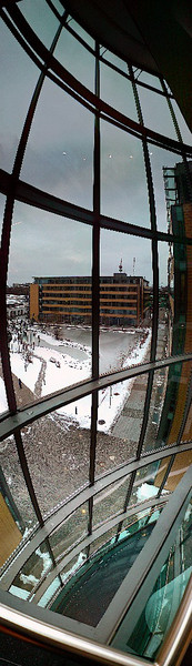 Zentrale, Treppenhaus, Architektur, Fotografie, Treppe, Vertikalpanorama
