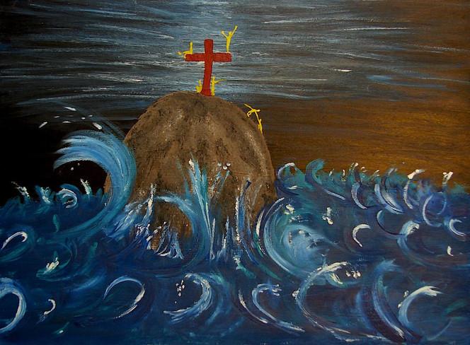 Sturm, Felsen, Malerei, Kreuz, Figural, Meer
