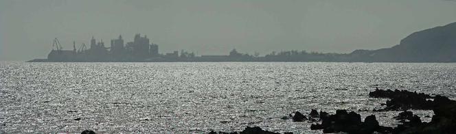 Industrie, Grau, Insel, Meer, Betonwerk, Panorama