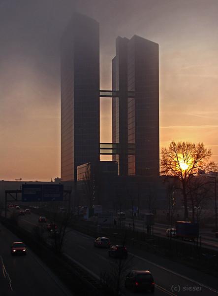 München, Winter, Dämmerung, Highlighttowers, Fotografie, Architektur