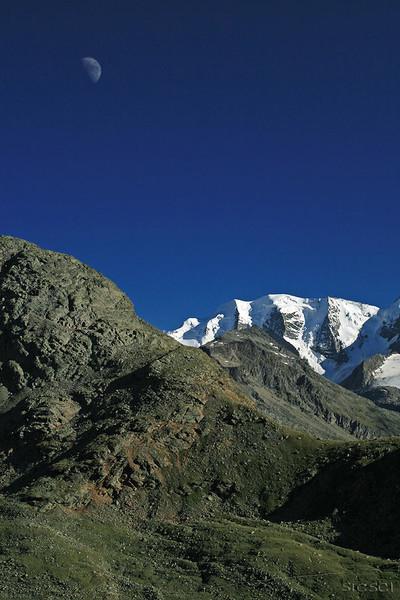Gletscher, Mond, Piz, Pontresina, Palü, Blau