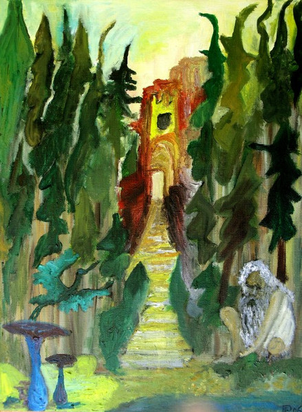 Treppe, Licht, Landschaft, Malerei, Wald