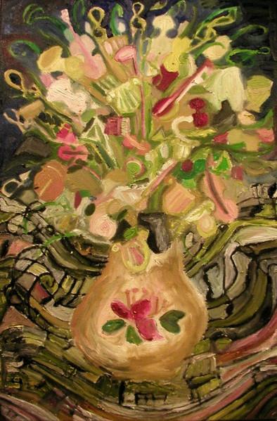 Stillleben, Blumenstrauß, Blumen, Ölmalerei, Musik, Malerei