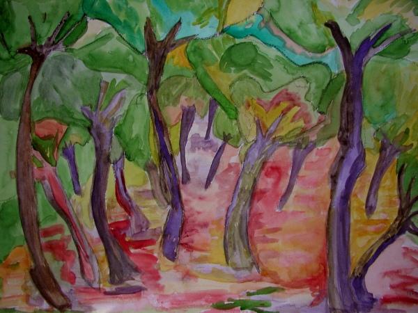 Wald, Landschaft, Baum, Aquarellmalerei, Bunt, Malerei