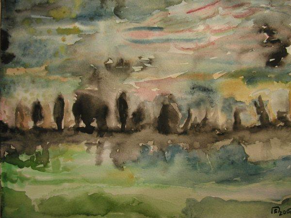 Baum, Landschaft, Nacht, Aquarellmalerei, Malerei, Moor