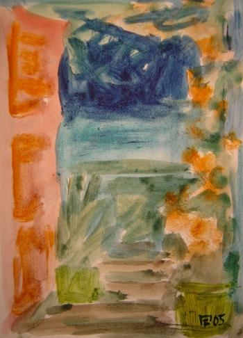 Landschaft, Aquarellmalerei, Malerei, Postkarte, Tür, Garten