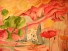 Einsames Haus in den Bergen bei Sonnenaufgang - landschaft aquarell rot baum haus berge
