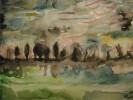 Aquarellmalerei, Malerei, Baum, Landschaft