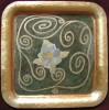 Metall, Tablett, Blumen, Gold