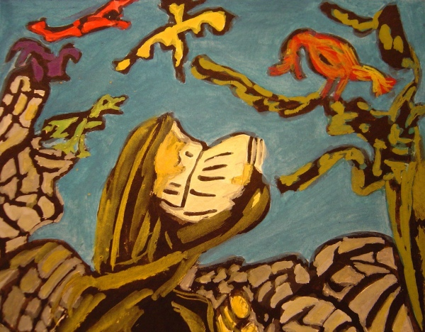 Tusche, Vogel, Malerei, Figural, Blau, Predigt